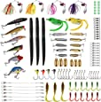 PLUSINNO Fishing Lures Baits Tackle Including Crankbaits, Spinnerbaits, Plastic Worms, Jigs, Topwater Lures, Tackle Box and More Fishing Gear Lures Kit Set, 102Pcs Fishing Lure