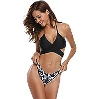 SHEKINI Femme Deux pièces Halter Bandage Push Up Brésilien Bikini Floral Print Maillots de Bain Femme 2 pièces Triangle Swimwear Plage