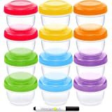 WeeSprout Baby Food Storage Containers | Set of 12 Small Reusable 4oz Jars with Leakproof Lids (6 Asst. Colors) - BPA Free Plastic - Freezer/Dishwasher Safe - Also Use For Kids Snacks/Lunch Containers