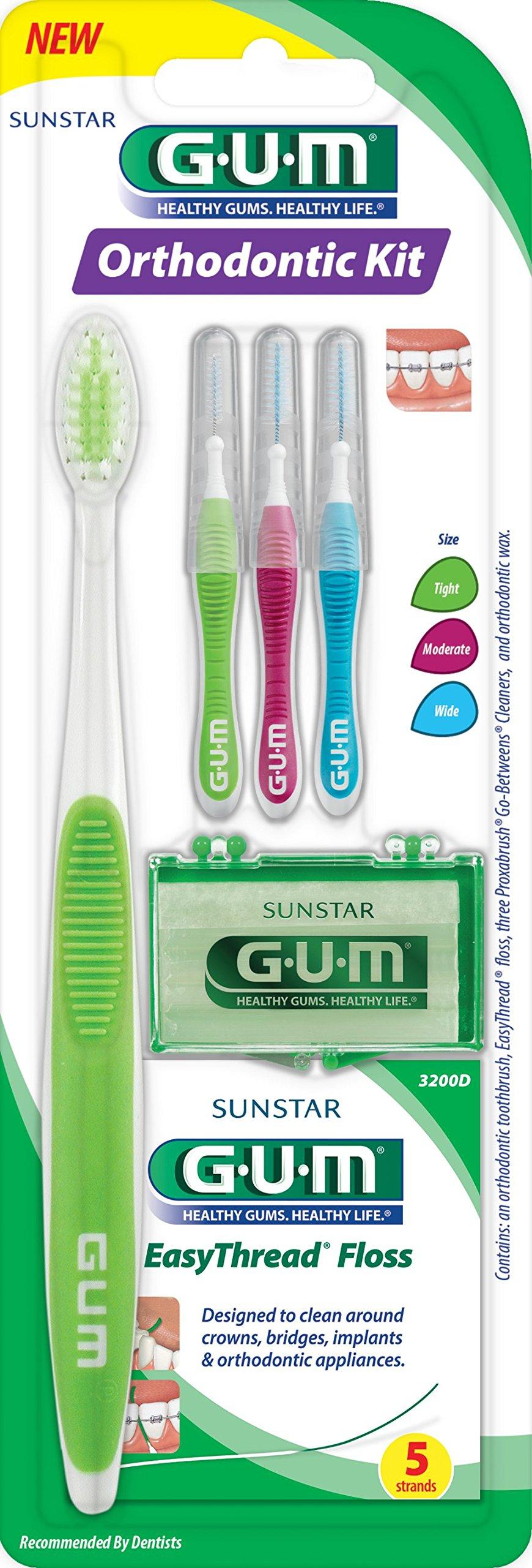 Sunstar 124KK Gum Orthodontic Kit - Includes Orthodontic Toothbrush for Braces, Mint Orthodontic Wax, Threader Floss, Proxabrush Interdental Cleaners