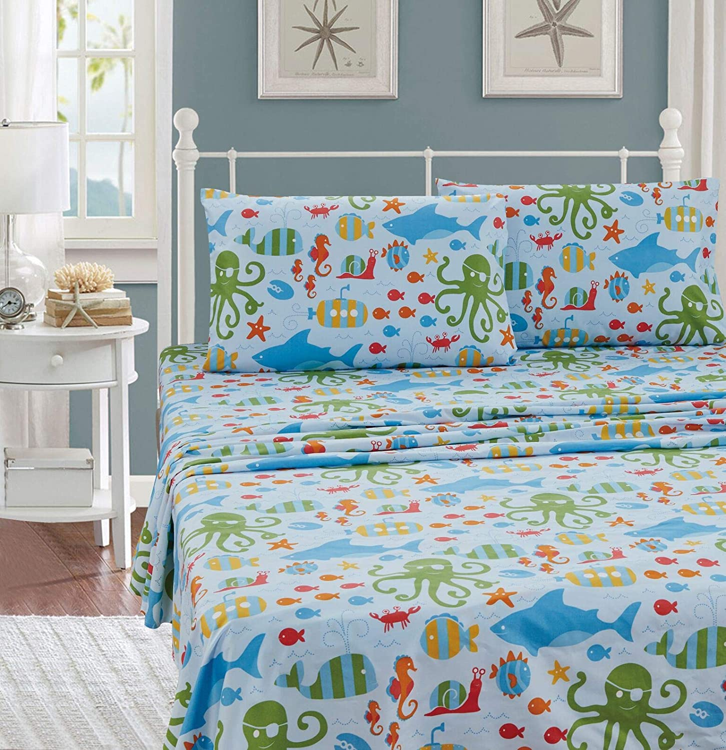 Better Home Style Multicolor Under The Sea Life Whales Fish Seahorse Sea Stars Octopus Lobster Kids/Boys/Teens 4 Piece Sheet Set Includes Pillowcases Flat and Fitted Sheets # Octopus (Full)