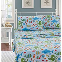 Better Home Style Multicolor Under The Sea Life Whales Fish Seahorse Sea Stars Octopus Lobster Kids/Boys/Teens 4 Piece…