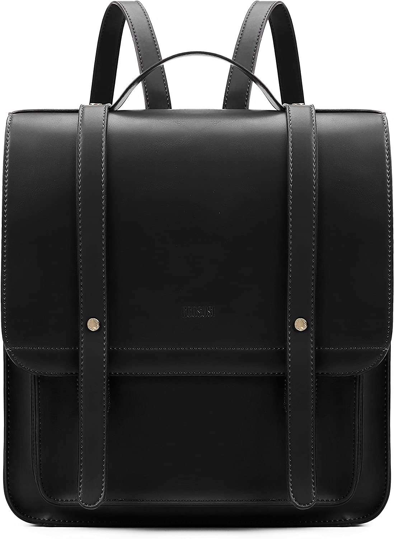 ECOSUSI Mochila Pase de Mujeres Impermeable Mochila para Portátil con Bolso Desmontable Bolso de maletín de Cuero Suave de 13 Pulgadas Ordenador Portátil Mochila de Daypacks Negocios Negro