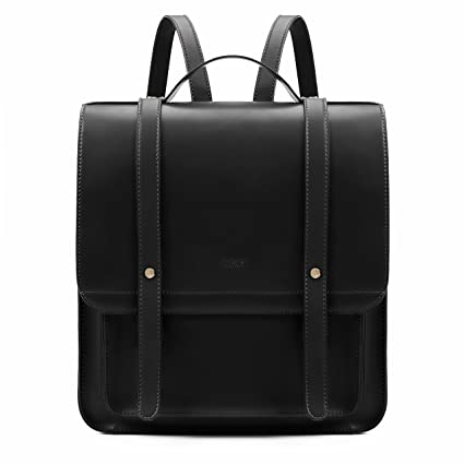 7019036511feae Amazon.com: ECOSUSI Women Briefcase Laptop Backpack PU Leather Satchel  Messenger Bag Fits up to 14 Inch Laptops with Small Purse, Black: Computers  & ...