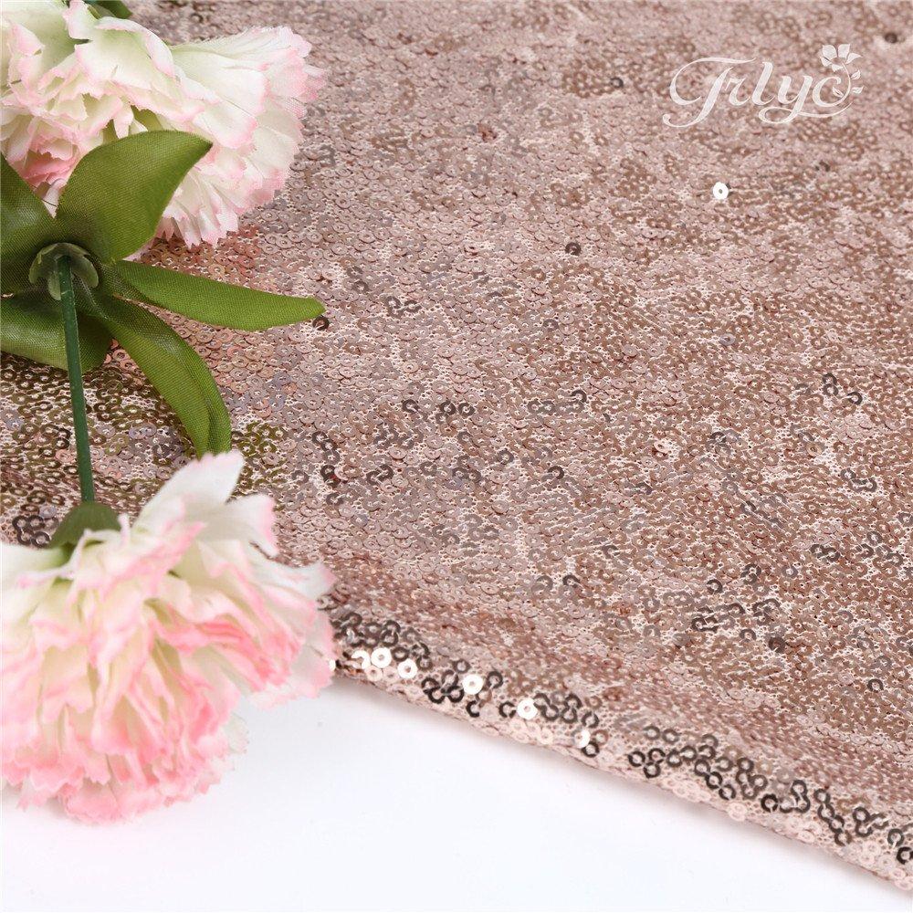 Amazon.com: TRLYC 72\'\' Round Rose Sequin Wedding Cake Tablecloth ...