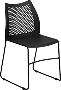 Flash Furniture HERCULES Series 661 lb. Capacity Black Sled Base Stack Chair with Air-Vent Back