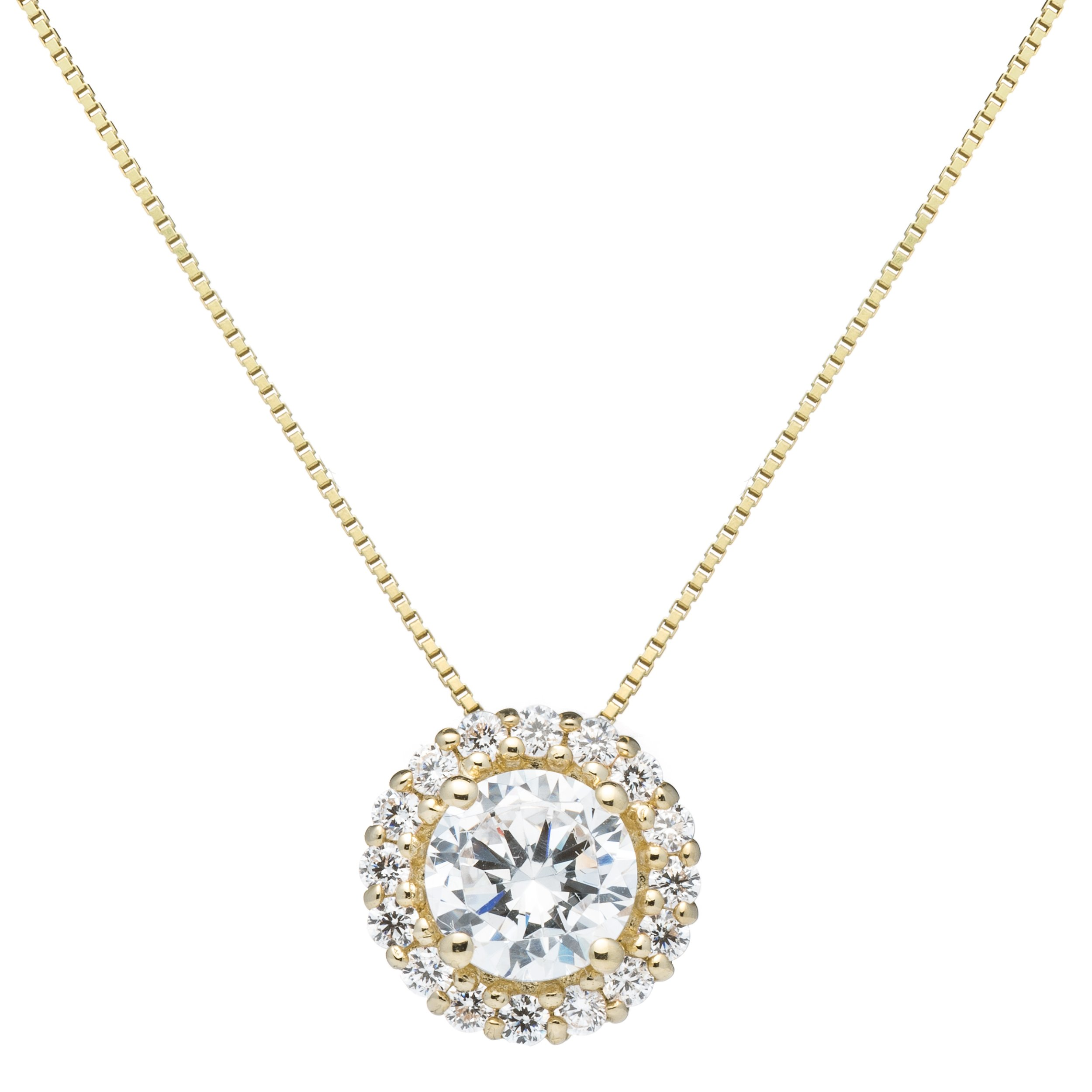 14K Solid Yellow Gold Round Cut Cubic Zirconia Solitaire Pendant Necklace (1.0 ct center, 1.24 cttw), 18 inch .60mm Box Link Chain, Gift Box