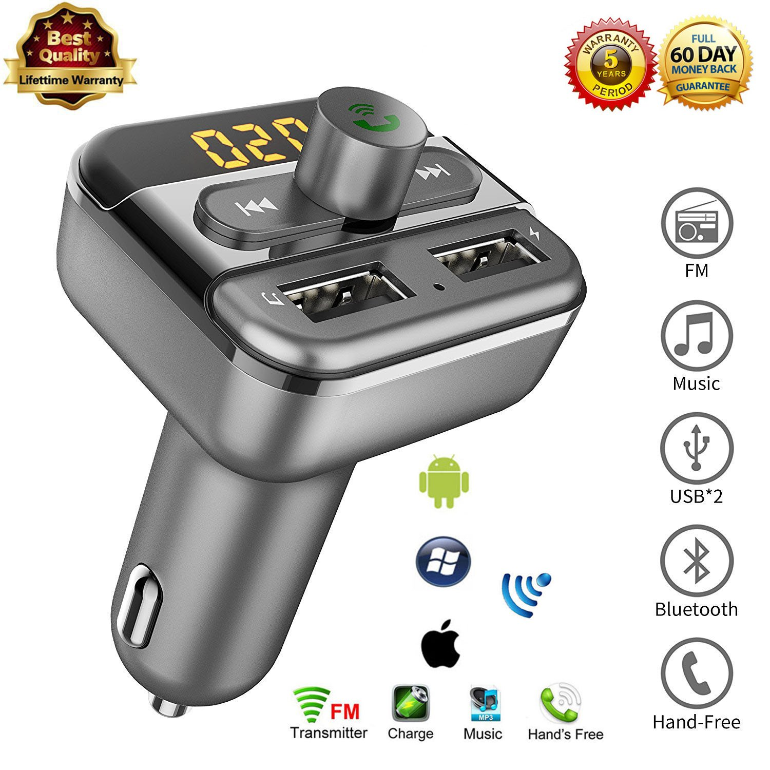 Wireless Bluetooth FM Transmitter - Dual USB Ports Car Kit Support USB Flash Driver and Micro SD Card Hand-free Radio Receiver For Apple iPhone8/X iPod iPad Samsung Galaxy Note8 Android Smartphone