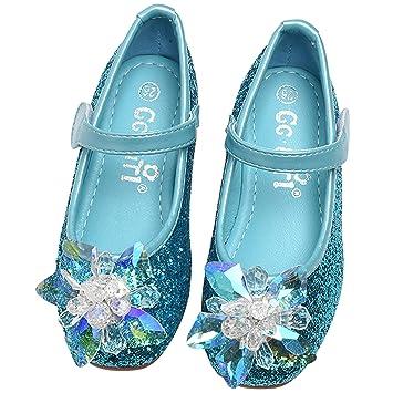FStory Winyee Mädchen Prinzessin Schuhe Ballerina Kinder ELSA Sandalen  Partei Glitzer Kristall Schuhe Flach Prinzessin Eiskönigin Kostüm 690f1b0400