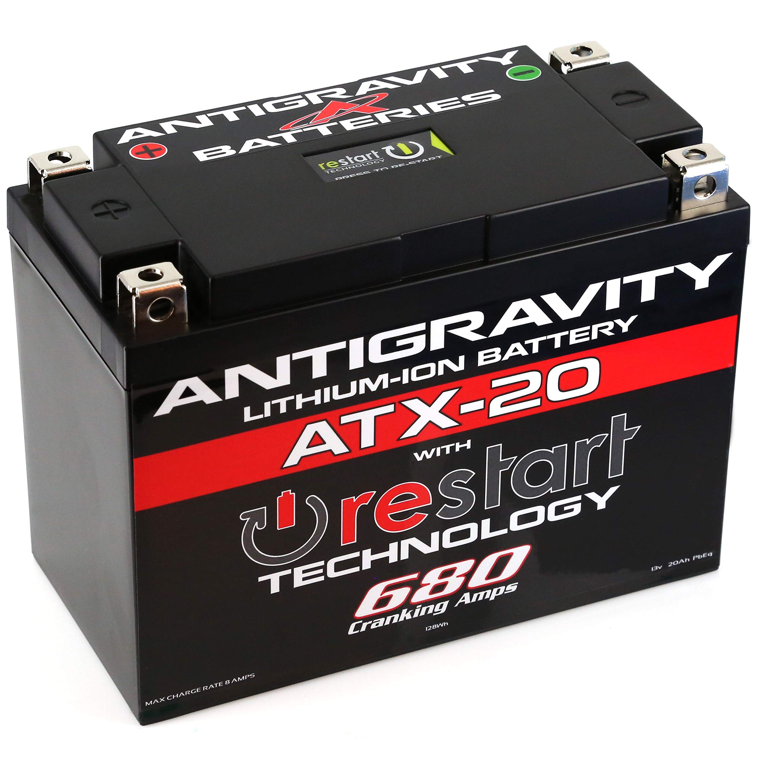 Antigravity ATX20-RS Lithium Motorsport Battery w/BMS & Re-Start Technology - 680cca 3.8 Pounds 20Ah - Replaces YTX15 YTX15L YTX20 YTX20L YTX20H YTX20HL YTX20-BS GYZ20H GYZ20L GYZ20HL - MADE IN USA 3