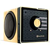 Portable Wireless Bluetooth Speaker by GOgroove - BlueSYNC BX Rechargeable Compact Speaker w/ NFC Tap to Pair, Removable Battery, AUX & USB inputs, Microphone, Playback Controls [Bluetooth, Wood]
