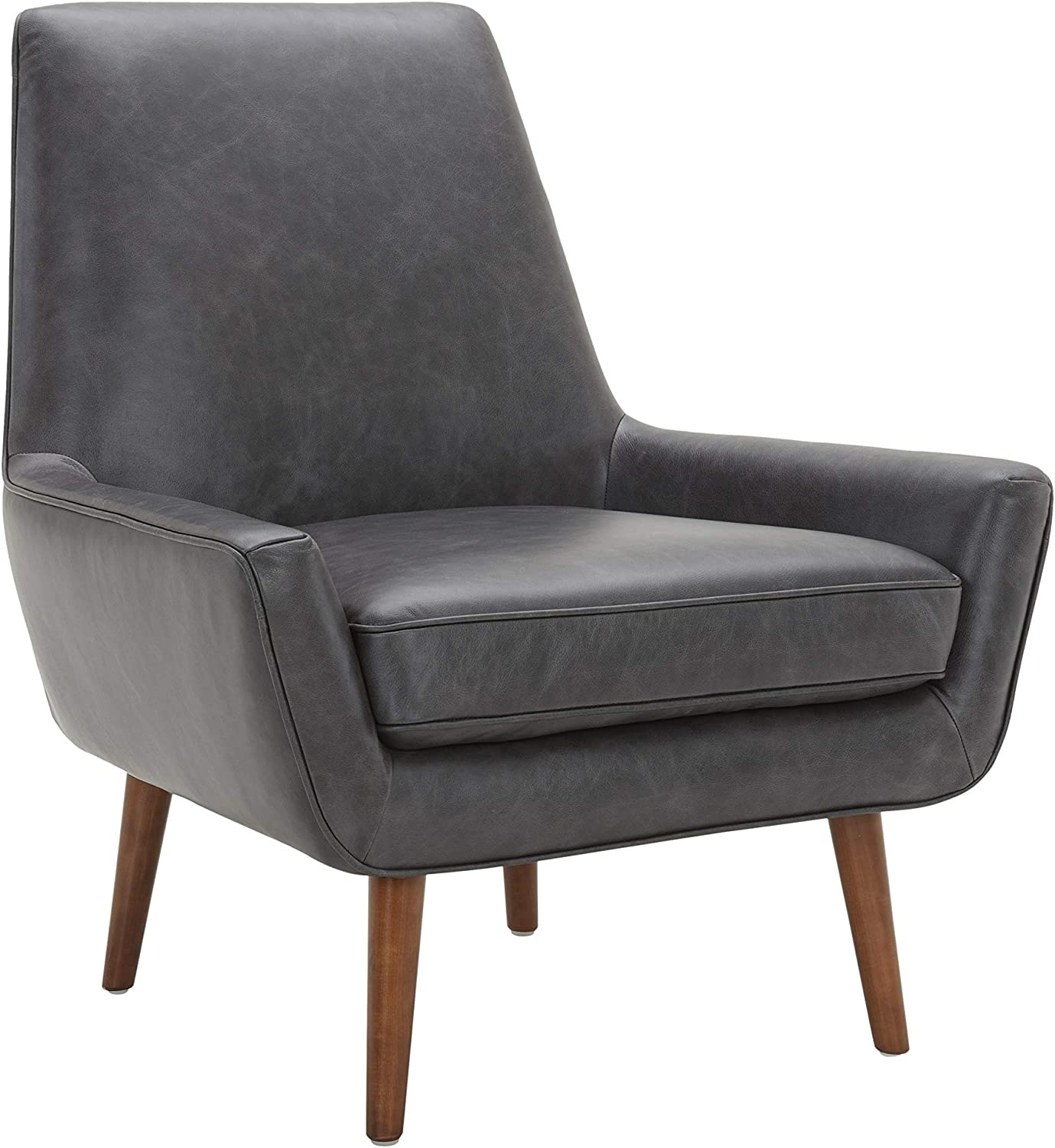 "Amazon Brand – Rivet Jamie Leather Mid-Century Modern Low Arm Accent Chair, 31""W, Black"