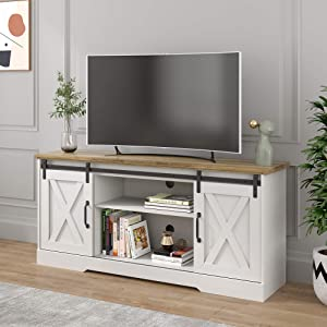POVISON TV Stand, Farmhouse Entertainment Center with Storage, Television Stands for TVs Up to 65