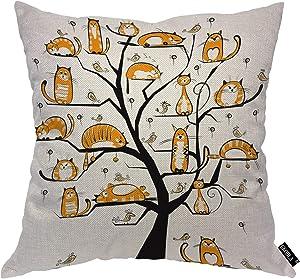 EKOBLA Cat Family Tree Throw Pillow Cover Adorable Bird Orange Cat Cartoon Lazy Fluffy Joy Branch Cozy Square Cushion Case for Men Women Boys Girls Room Home Decor Cotton Linen 18x18 Inch