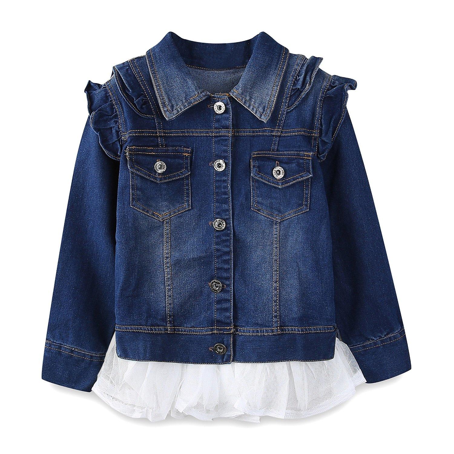 Mud Kingdom Cute Girls Denim Jacket with Removable Tulle