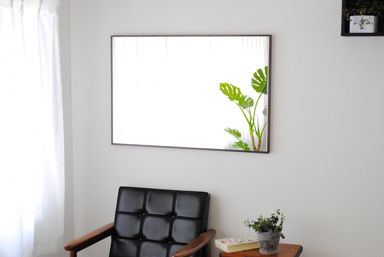 SENNOKI 細枠 全身 鏡 姿見 壁掛け ウォールミラー 長方形 ブラウン 日本製 62cm×92cm B072J2CSLX ブラウン ブラウン