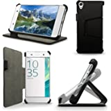 iGadgitz Premium Folio Black PU Leather Case Cover for Sony Xperia XA F3111 with Multi-Angle Viewing Stand + Screen Protector