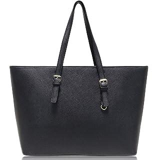 d84abfc829803 Vanessa   Melissa Damen Shopper Handtasche Schwarz Groß aus hochwertigem PU  in klassischem Saffiano Look