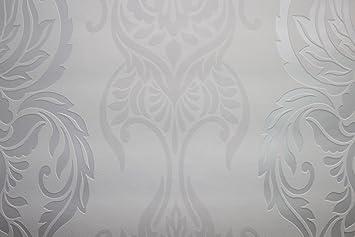 Vlies Tapete 122 01 Barock Muster Weiss Beige Silber Metallic Bn