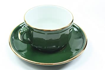 Apilco Tea Cup in Green/Gold (Set of 2): Amazon.co.uk: Kitchen & Home