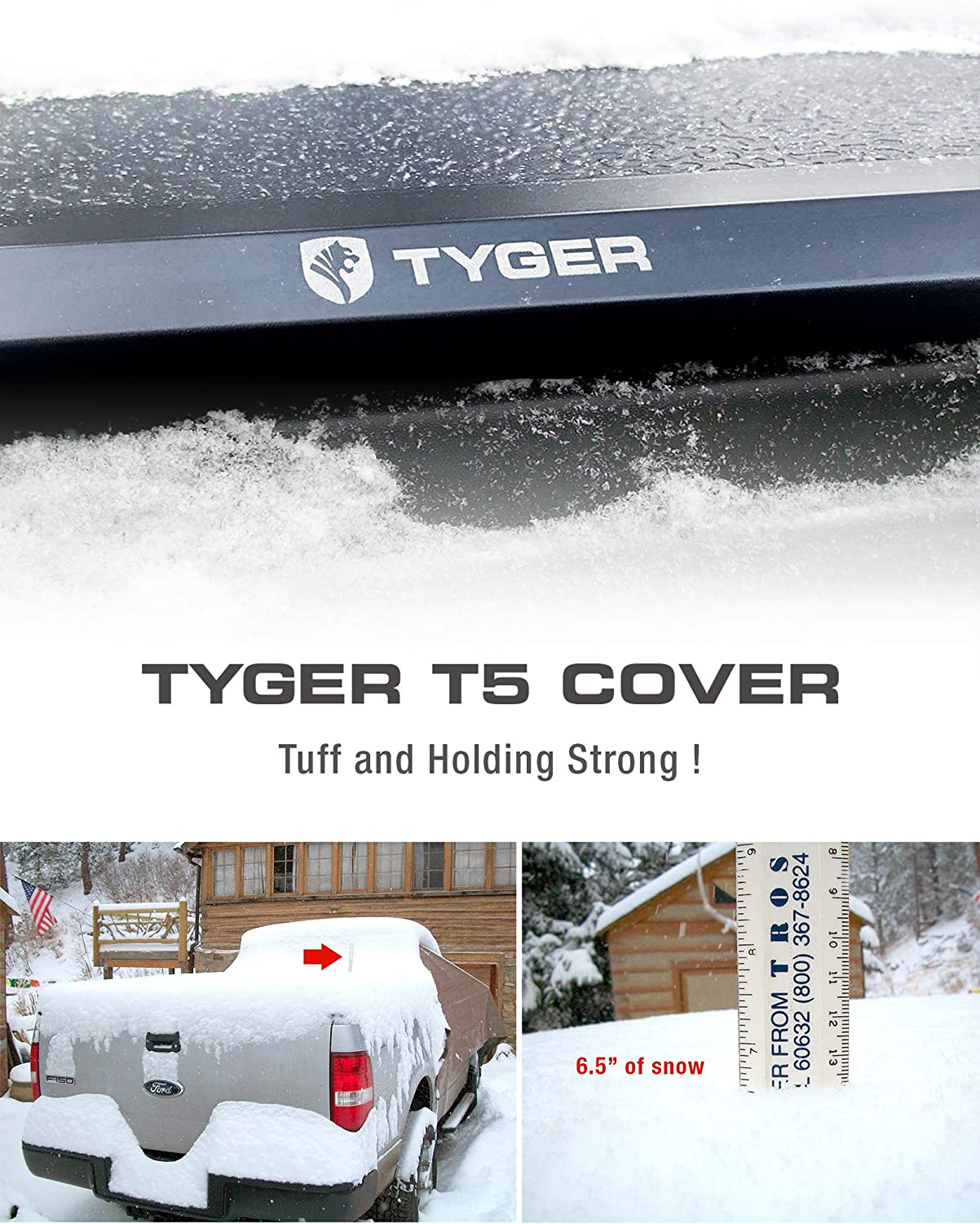 1 Tyger Auto TG-BC5T1032 Black 1 T5 Alloy Hard Top Tonneau Cover for 2007-2013 Toyota Tundra Fleet Side 5.5 Bed with or Without The Deck Rail System|TG-BC5T1032 Non-Carb Compliant