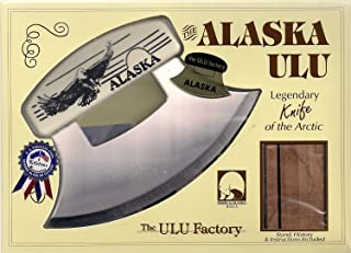 "product image for 7"" Inupiat Style Cultured Ivory Handled Ulu with Walnut Stand (Etched Bald Eagle)"