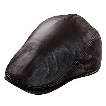2e622f0e31d78 Dazoriginal Gavroche Cuir Chapeau Casquette Plate Hommes Chapeaux Beret  Marron