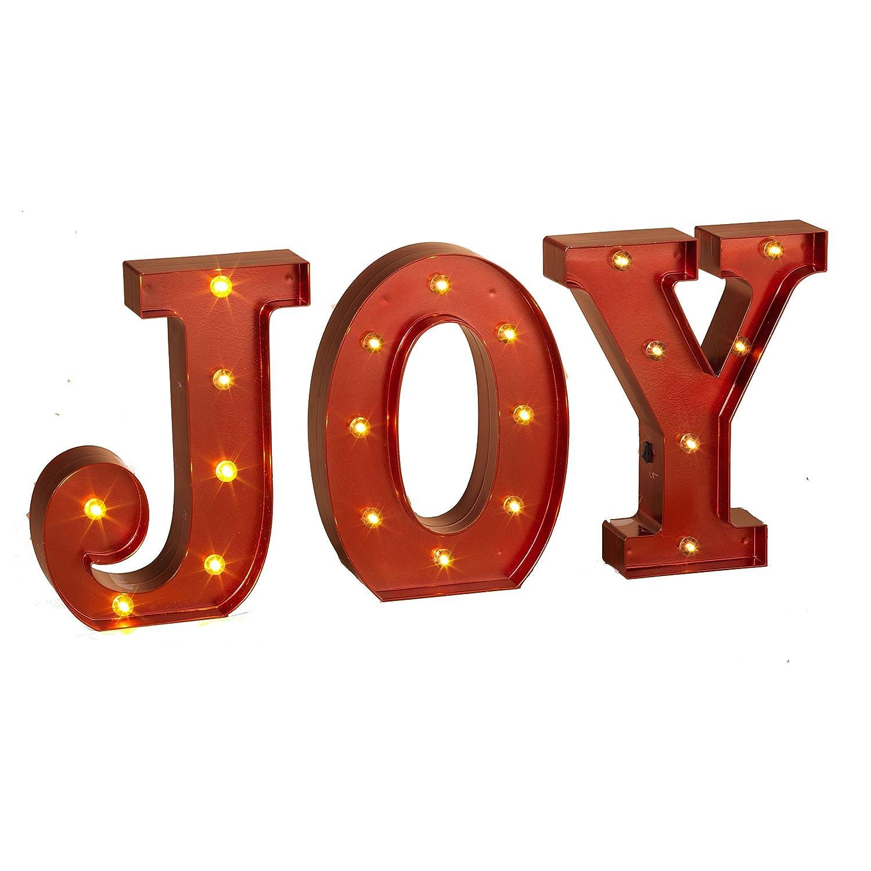 Amazon.com: JOY - LED Red Metallic Illuminated Lighted Marquee Word ...