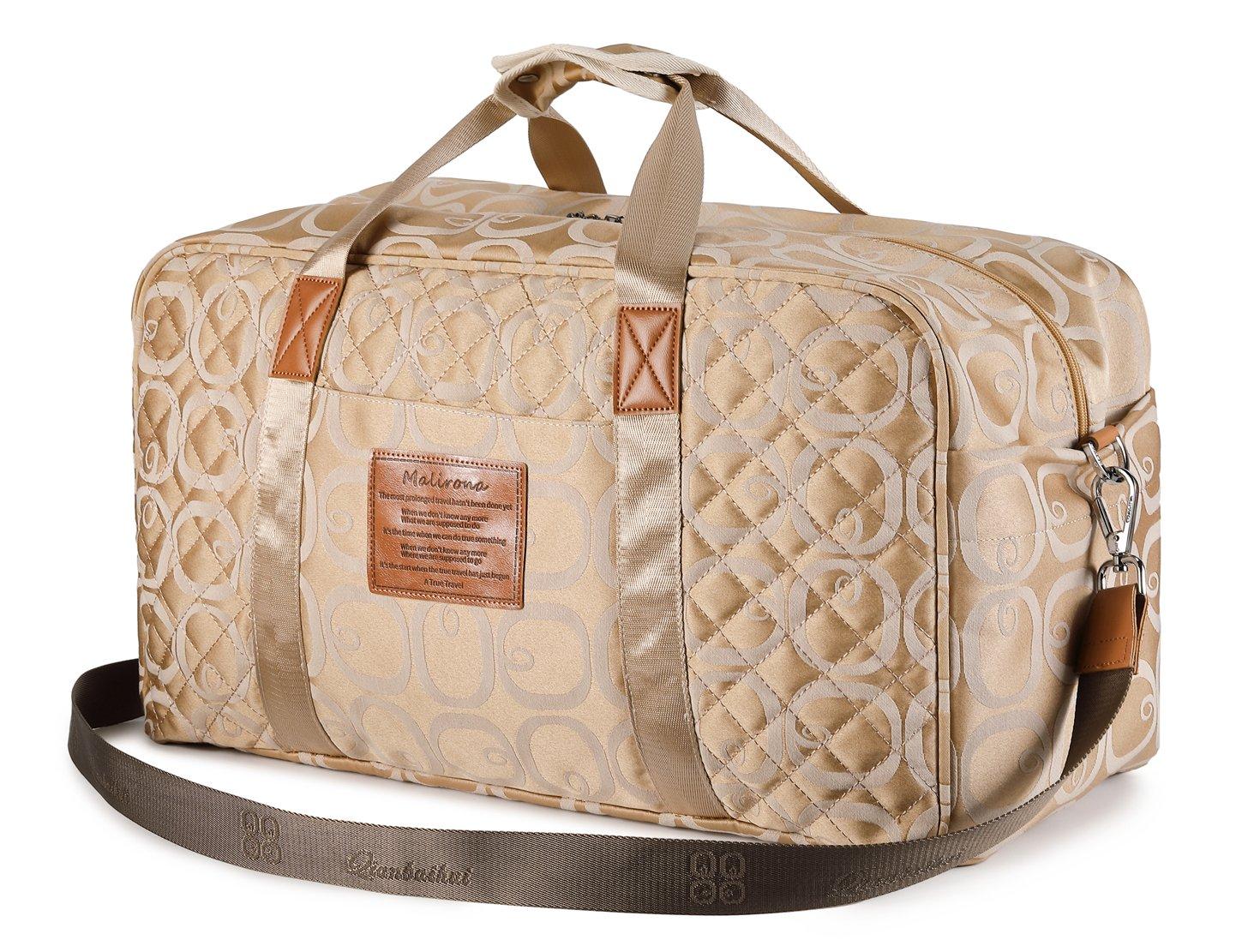 Malirona Canvas Weekender Bag Travel Duffel Bag for Weekend Overnight Trip (Seasonal Flowers Apricot)