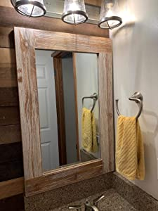Rustic Wood Frame Wall Mirror, Large Rustic Farmhouse Mirror Decor, Vertical or Horizontal Hanging, for Bathroom Vanity, Living Room or Bedroom (Gray)