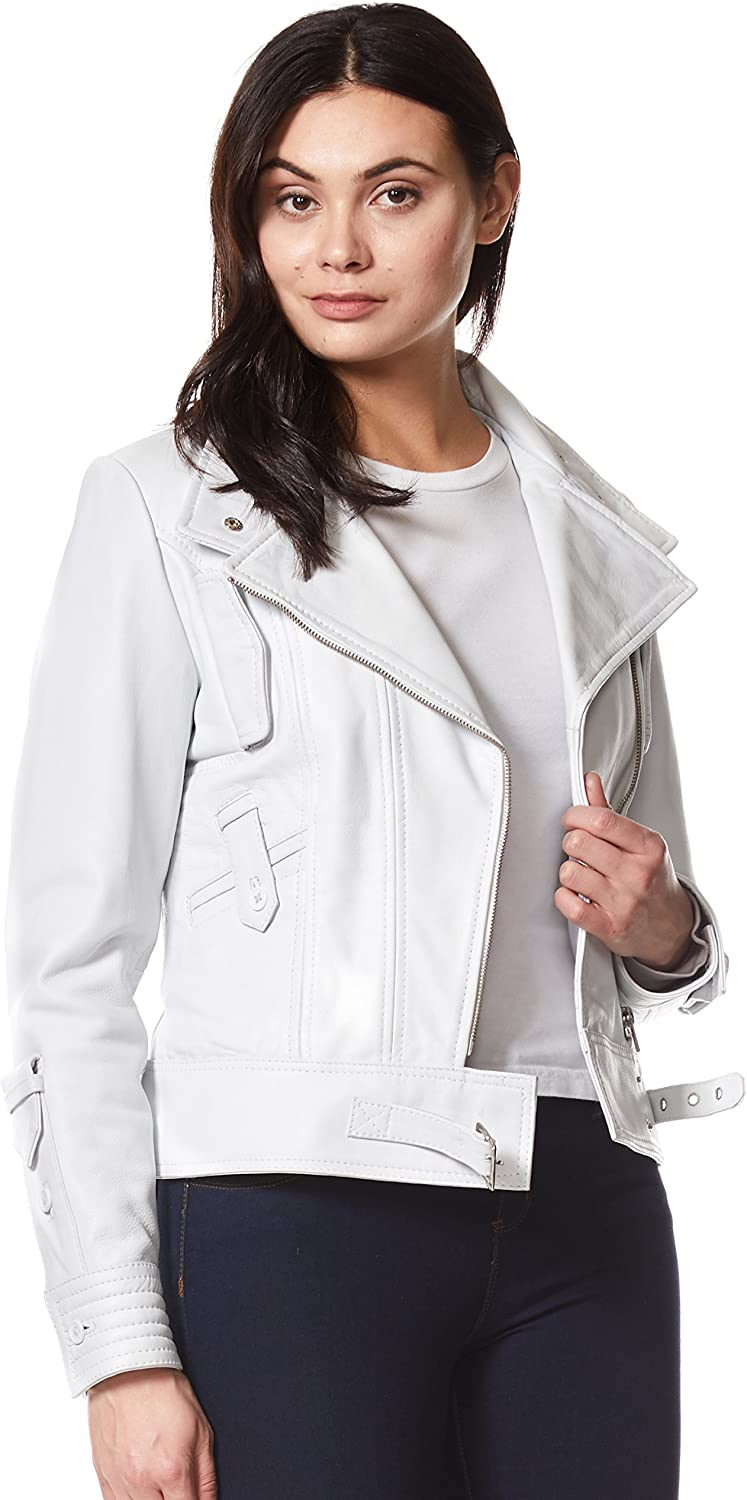 Trench Ladies Real Leather Jacket White Napa Casual Biker Style Jacket 2812