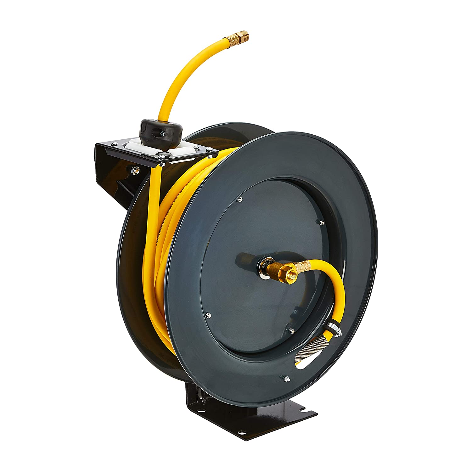 "AmazonCommercial Air Tool Hose Reel Water Retractable Steel 3/8"" inch x 50' Feet Premium Commercial Flex Hybrid Polymer Hose, Max. 300 PSI Heavy Duty Spring Driven Construction"