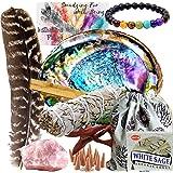 Smudge Kit Spiritual Set, Large Abalone Shell, Complete Sage Smudge Stick Kit, Palo Santo, White Sage Incense for…