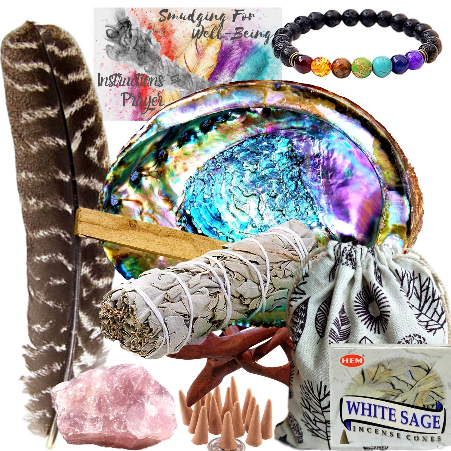 Smudge Kit Spiritual Set, Large Abalone Shell, Complete Sage Smudge Stick Kit, Palo Santo, White Sage Incense for Cleansing, Smudge Feather,Chakra Kit Bracelet, Charitable Positive Vibes Smudging Kit by Worldly Finds