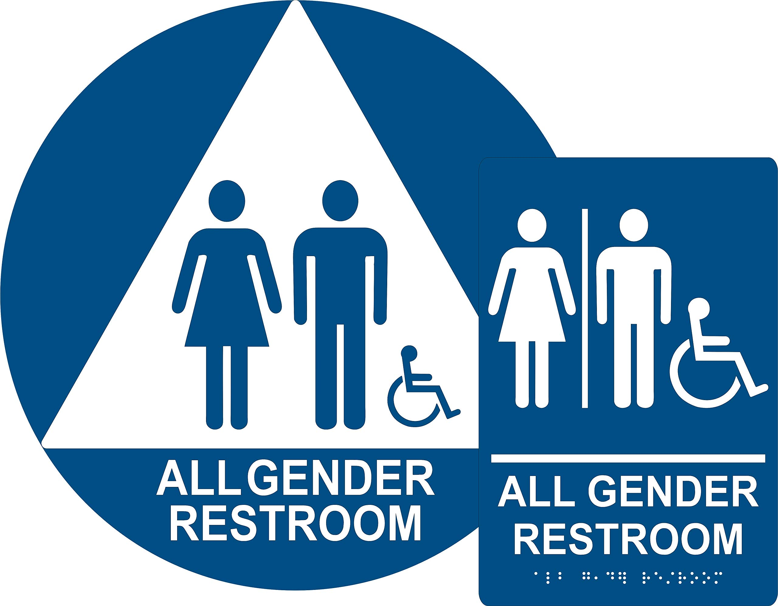 ADA All Gender Restroom Sign Bundle, Door and Wall Sign with Braille