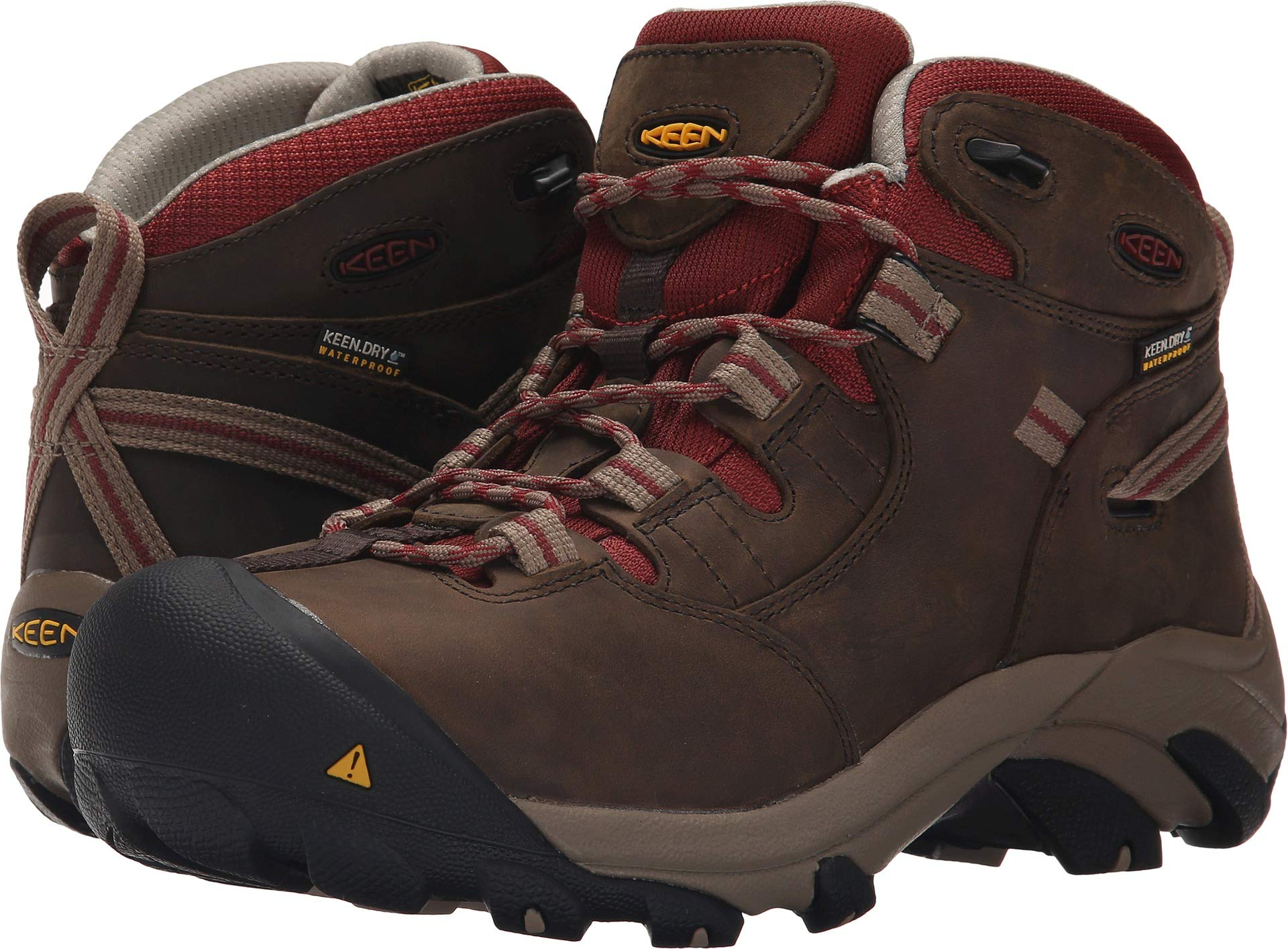 KEEN Utility Women's Detroit Mid Steel Toe Work Boot,Black Olive/Madder Brown,5 W US by KEEN Utility