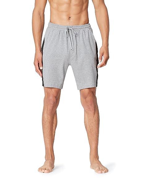 FIND Pantalones Cortos de Pijama para Hombre, Gris (Mid Grey Marl), X