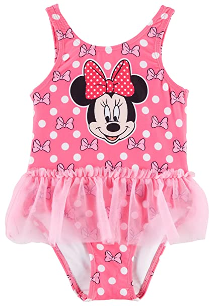 Amazon.com: Disney Minnie Mouse Baby Girls Dot Rufflle Skirt Swimsuit 12 Months Pink/White: Clothing
