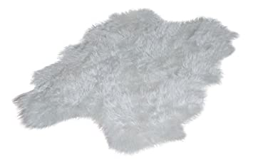 5x7 Warm White Premium Faux Fur Area Rug / Quatro Sheepskin Design