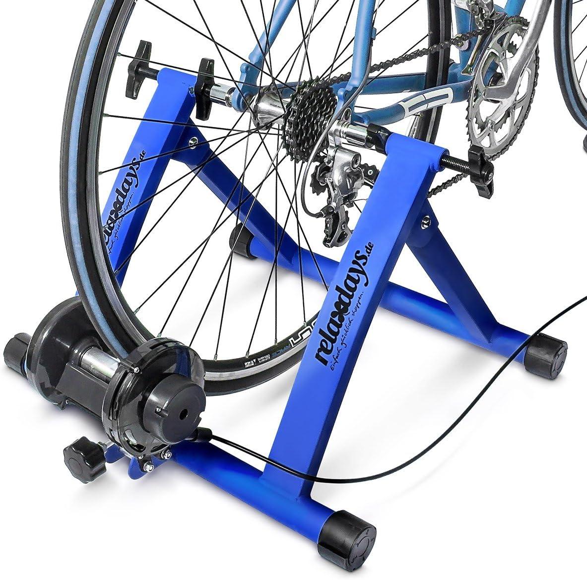 Relaxdays Heimtrainer Fahrrad Rollen, Convierte Bicicleta común a estática, Mide: 54 x 46 x 20 cm, Azul, Unisex Adulto