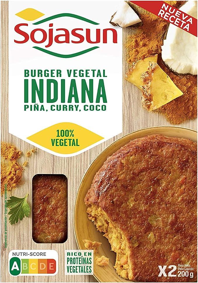 Sojasun Hamburguesa de Soja, 100% Vegetal Indiano, 2 Unidades