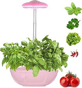 Smart Hydroponic Indoor Herb Garden Light, Height Adjustable Hydroponics Growing Light for Veg/Flower/Fruit, Self-Watering, Natural Full Spectrum, Desklamp for Kids + Gift Mini Garden Tools
