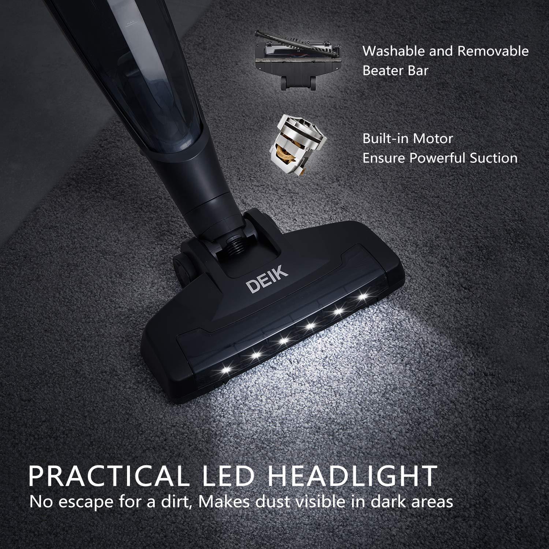 Ein toller Aspekt sind die LED-Leuchten des Akku Staubsauger von Deik