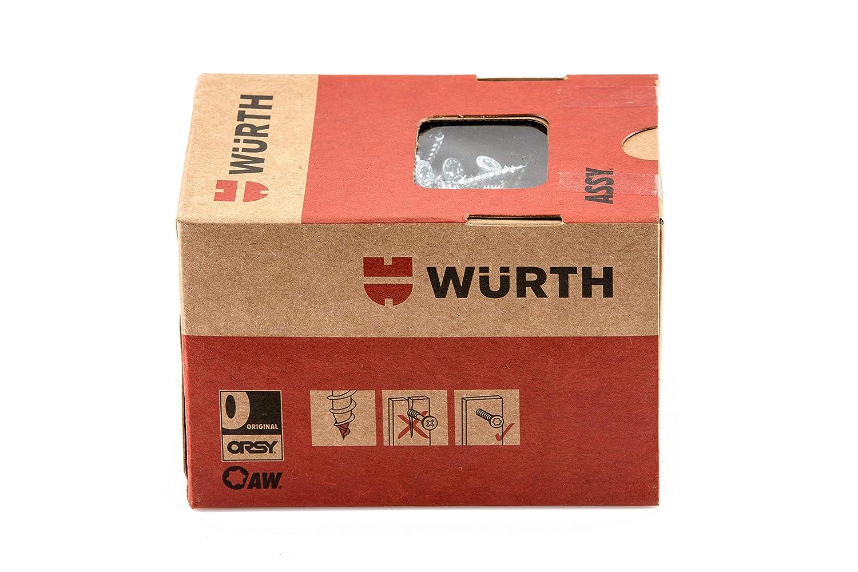 W/ürth Assy 3.0 Spanplattenschraube 4,0 x 50 mm 500 Stck//Pack Stahl verzinkt AW 20 Teilgewinde Senkfr/ästaschenkopf blau pass.