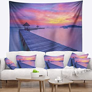 Designart ' Purple Tinged Wood Bridge and Beach' Pier Seascape Tapestry Blanket Décor Wall Art for Home and Office Medium: 39