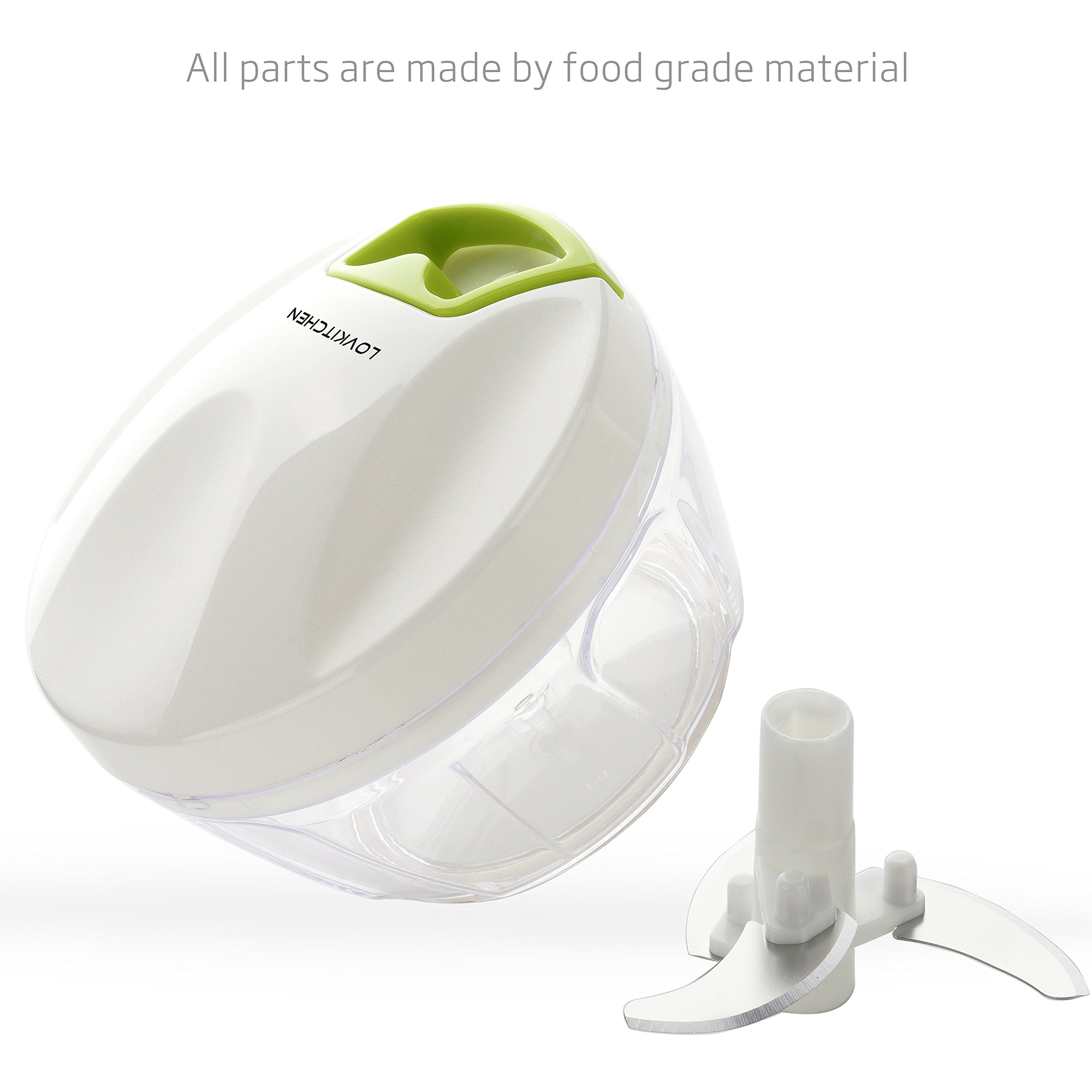Manual Food Chopper-LOVKITCHEN Compact and Powerful Hand Held Vegetable Chopper/Mincer/Blender to Chop Fruits/Vegetables/Nuts/Herbs/Onions/Garlics for Salsa,Salad,Pesto,Coleslaw,Puree (S)