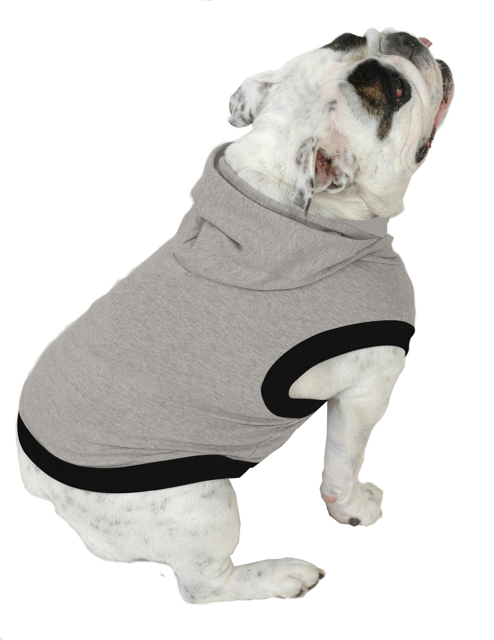 Plus Size Pups English Bulldog Dog Hoodie Tshirt - Beefy Over 8 Colors & Patterns to Choose from (Beefy, Heather Grey) by Plus Size Pups
