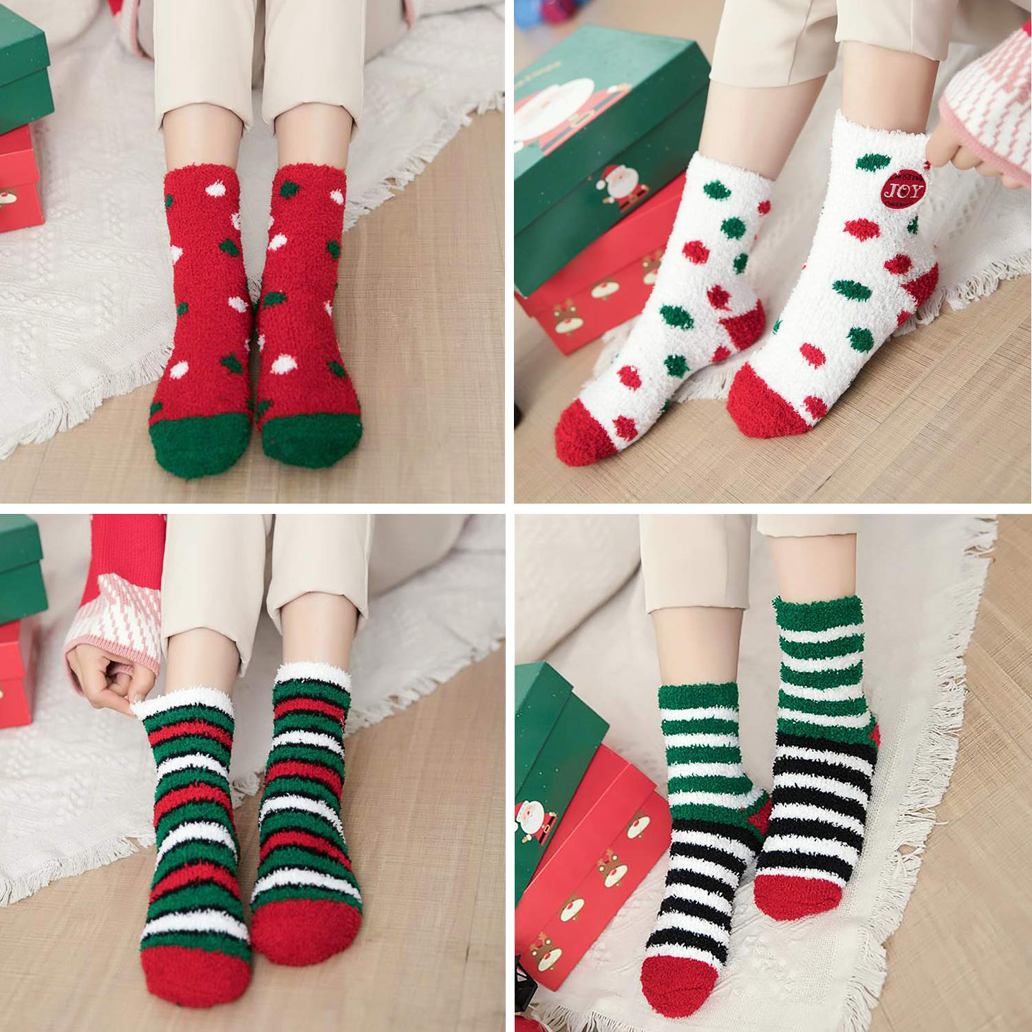 Christmas Fuzzy Socks,Kapmore 6 Pairs Cute Coral Fleece Warm Cozy Socks Holiday Slipper Socks XMAS Fluffy Crew Socks for Women Girls