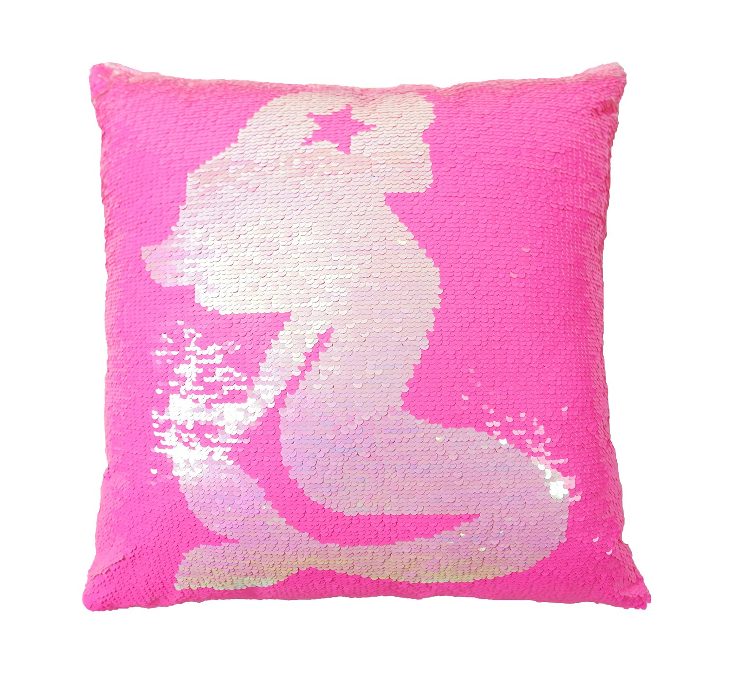 Cuscino decorativo con paillettes, reversibile a due colori cuscino decorativo, un cuscino non una fodera per cuscino, i migliori regali per bambini, 40x40cm di forma quadrata Rosa Iridescente Ataya