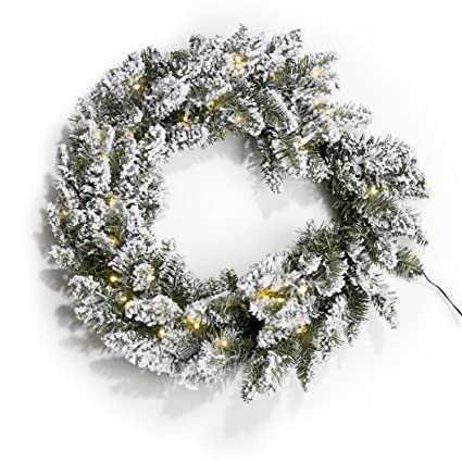 24 pre lit flocked pine christmas wreath with 50 warm white leds battery - Pre Lit Battery Operated Christmas Wreath